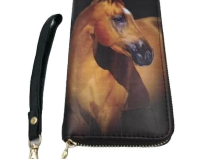 Western Horse Clutch Wallet Wrist Strap Zippered Designs Equestrian Purse