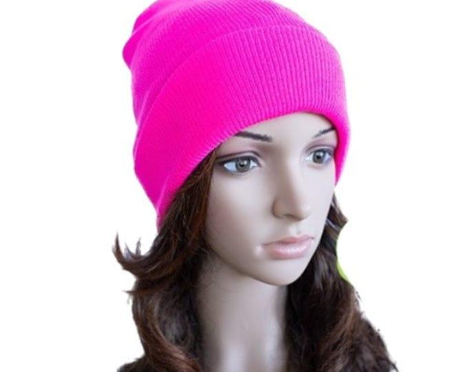 Pink Neon Beanie Cap Plain Knit Ski Hat Cuff Winter Solid Warm Men Women