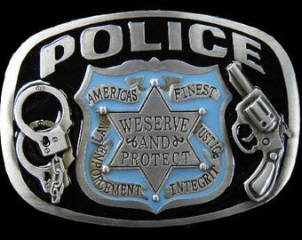 Police 911 Officer Badge Guns And Handcuff We Serve And Protect Profession Belt Buckle