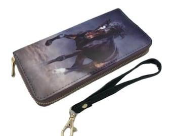 Western Horse Clutch Wallet Wrist Strap & Zippered Designs Equestrian Purse