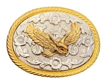 Two-toned Gold & Silver Eagle Belt Buckle Buckles