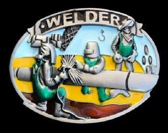 Welder Welding Worker Tradesman Occupation Tools Equipment Alloy Metal Belt Buckle