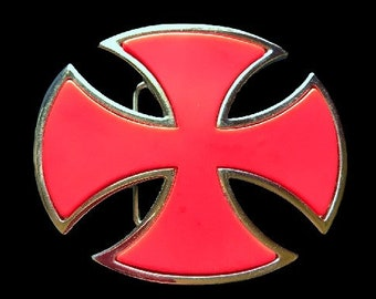 Knights Templar Crusade Cruzade Red Cross Belt Buckle Boucle De Ceinture