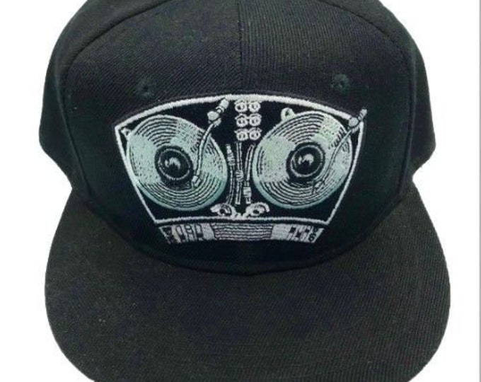 DJ Turntables Adjustable One Size Fits All Baseball Embroidered Cap Hat