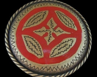 Unique Cool Red Gold Toned Round Floral Shield Belt Buckle Buckles