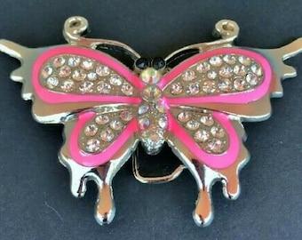 Glittering Glitter Rhinestones Pink Flying Butterfly Belt Buckle Buckles