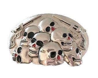 Skulls Guns Evil Bones Skeleton Belt Buckles Buckles