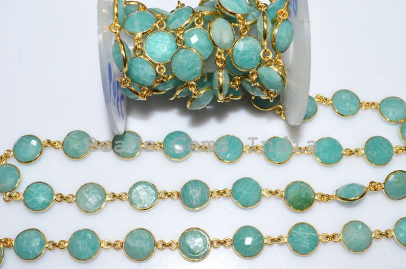 Amazonite Round Faceted Bezel Connector Link Chain 53BGI49 Natural Amazonite Round Shape Connector Chain 11 mm