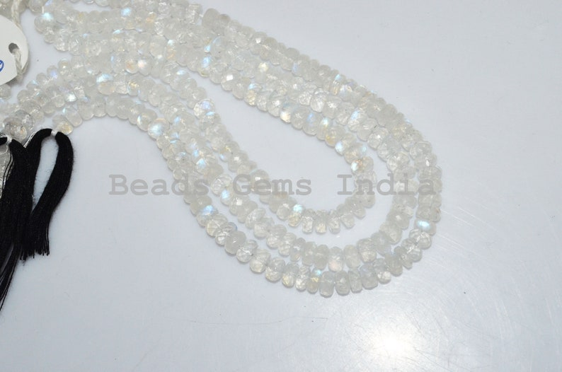 White Rainbow Moonstone Faceted Beads Natural White Rainbow Moonstone Rondelle Beads 90BGI30 10 6.25 mm