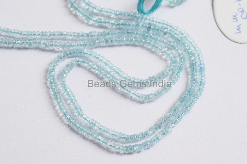 Aquamarine Beads Sold By Strand BL-5BGI069 Aquamarine Rondelle Beads Aquamarine Faceted Beads 13/'/' 3-4 mm