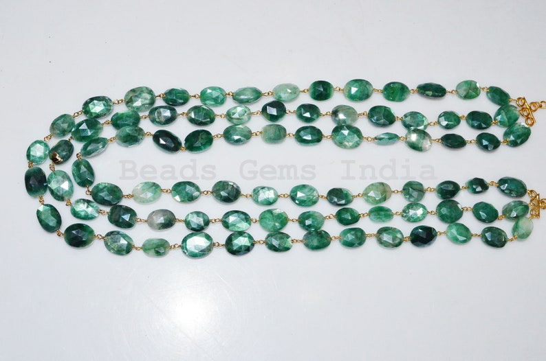 10-13.50 mm Gorgeous Mystic Green Moonstone Oval Shape Rosary Beaded 3 Layer Necklace Green Moonstone Faceted Rosary Necklace 6BGI251