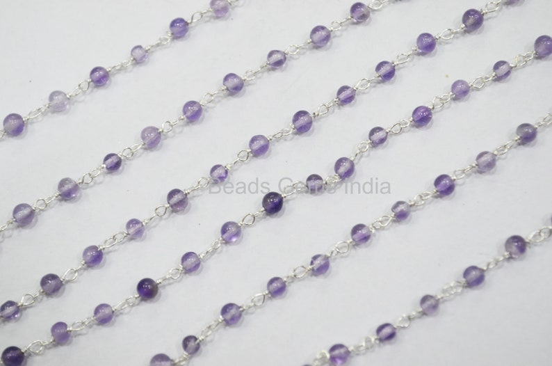 3-3.5 mm Sold By Foot Amethyst Rondelle Wire Wrapped Chain Amethyst Smooth Rosary Beaded Chain 6BGI400
