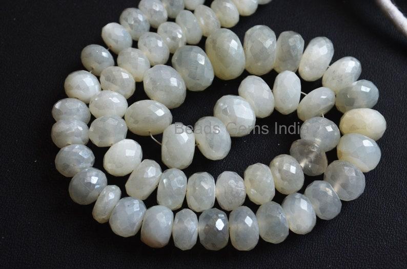 17/'/',MC-5BGI62 6-11.5 mm White Moonstone Silverite Rondelle Beads Sold By Strand White Moonstone Silverite Faceted Beads