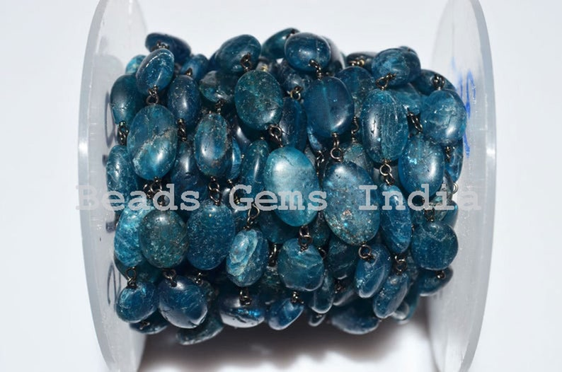 Neon Apatite Black Wire Wrapped Rosary Chain 5BGI188 Sold By Foot Neon Apatite Smooth Oval Rosary Beaded Chain 8-13 mm