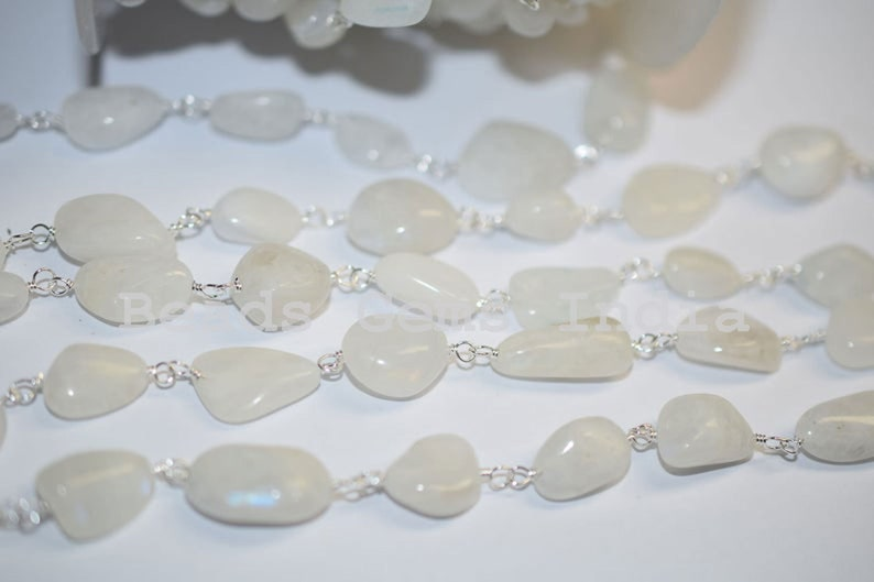 8-14 mm Rainbow Moonstone Smooth Wire Wrapped Nuggets Rosary Chain 6BGI006 Rainbow Moonstone Smooth Nuggets Rosary Chain