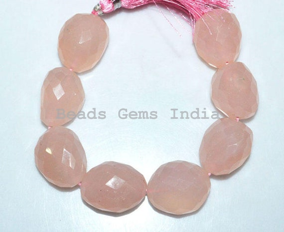 20x28-25x38 mm Rose Quartz Faceted Tumble Big Stone Nugget Beads 1 Strand Rose Quartz Faceted Nuggets Briolette 7 BL3265