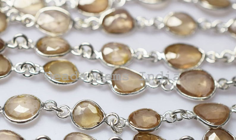 5BGI911 5-7 mm Beautiful Natural Champagne zircon Free Form 925 Sterling Silver Connector Chain Faceted Bezel Connector Link Chain