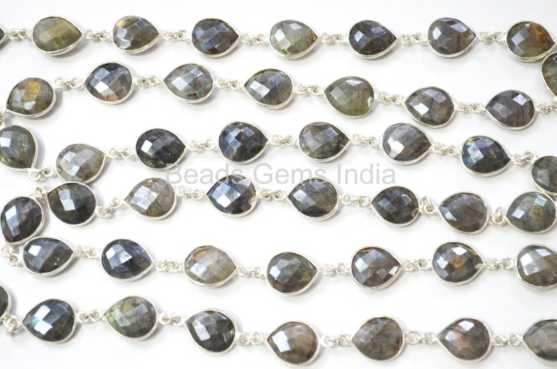 Silverite Labradorite Bezel Link Chain Sold By Foot 10x12 mm 6BGI086 Labradorite AB Coated Pear Faceted Connector Chain