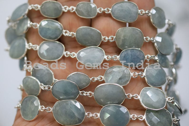 Sold By Foot Rare Item 11-21 mm Milky Aquamarine Bezel Link Connector Chain Milky Aquamarine Station Connector Chain 5BGI889