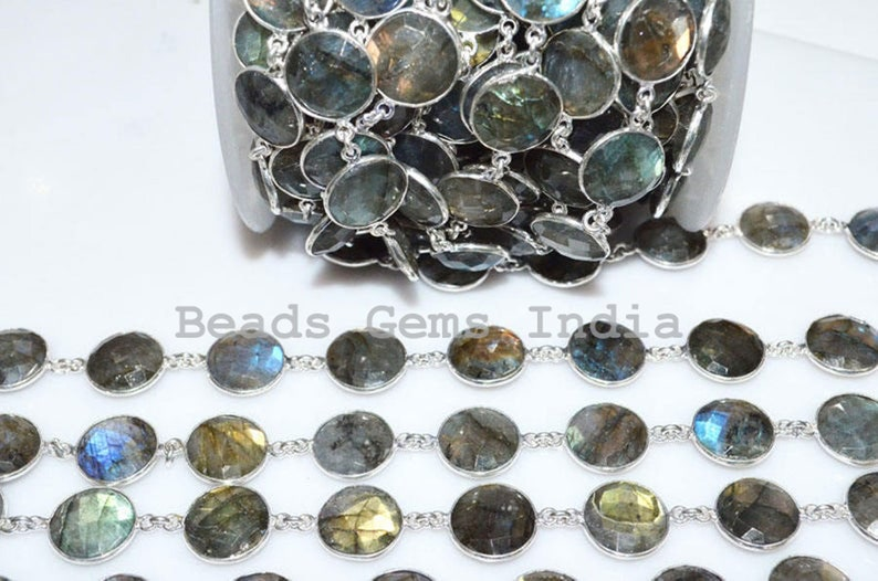 13-14 mm Labradorite Coin Shape Connector Bezel Chain Labradorite Wire Wrapped Connector Link Station Chain 5BGI741