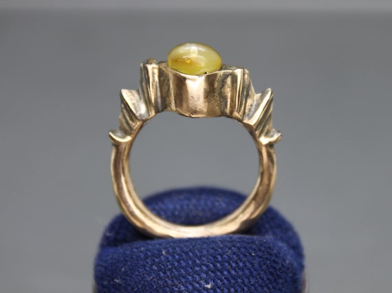 Ancient Medieval Ring with amber. Medieval jewelry