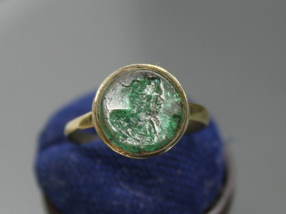 Ancient Medieval Signet Ring. Medieval jewelry. An