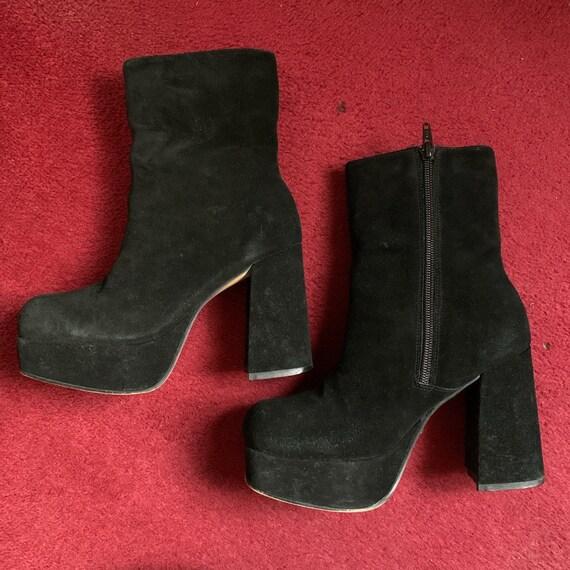 Vintage 90's black real suede, platform boots.