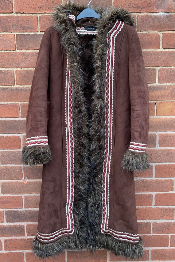 Vintage 90s does 60s/70s, long faux suede afghan,