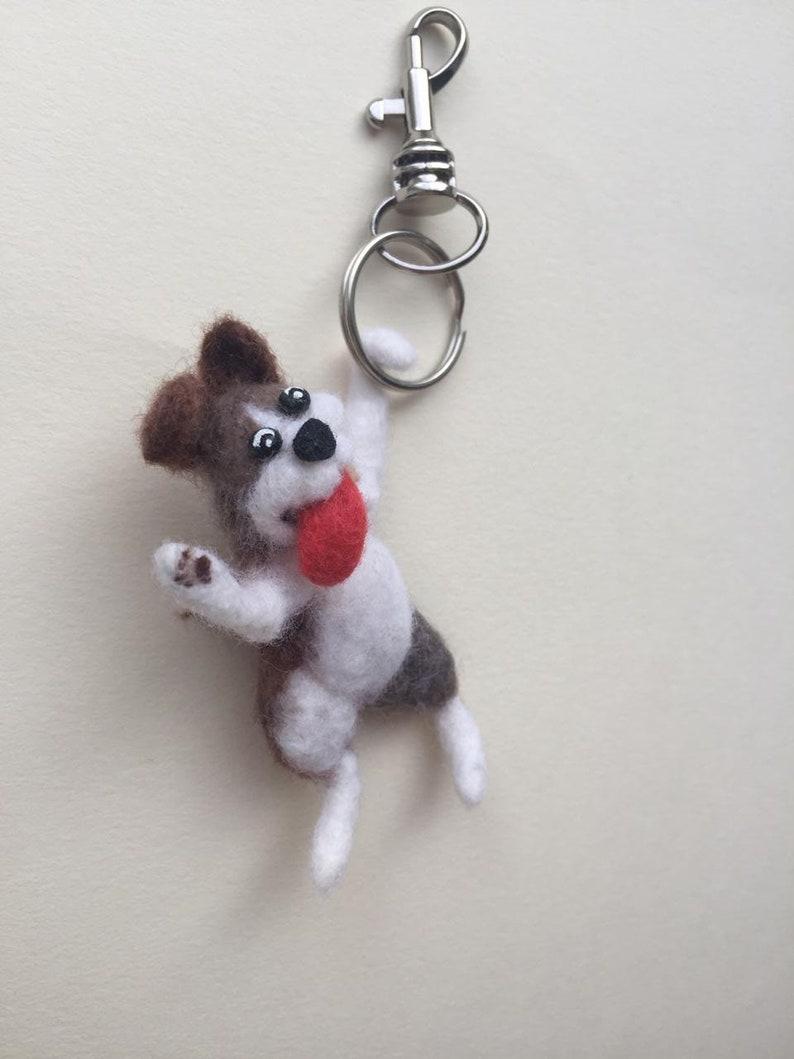Cute Gifts Cute Keychain Animal Dog Keyring Needle Felted Dog Keychain Felted Dog Miniature