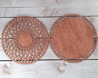 Circular Shape 20cm Wooden Bottom Base and Top//Lid for Crochet Basket