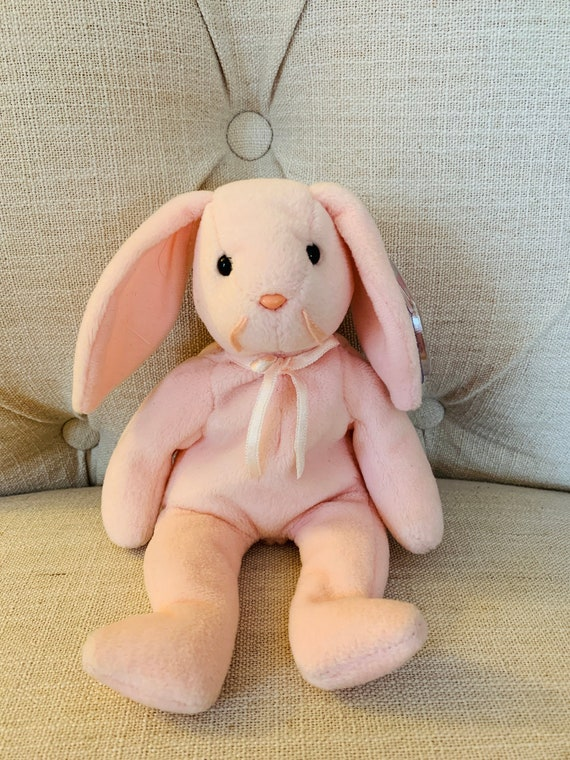 Ty Beanie Baby Hoppity the Pink Bunny 2 Tag Errors /& PVC Filled USED