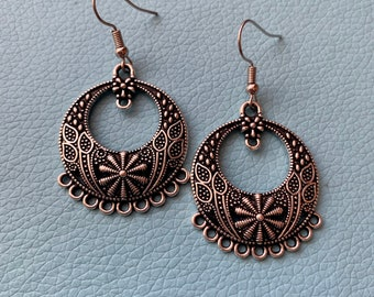 Silver Circle Earrings with Flower Designs