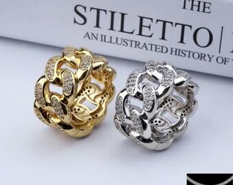 Big Cuban Ring Silver/Gold Color 55,57,59,62.64.6mm (5 Sizes) Hip-Hop Rap DDS Nine