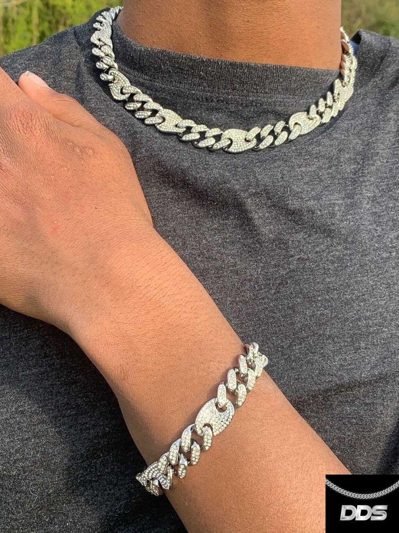 4 Sizes and His Miami Iced Bracelet 8 Inches Silver ColorGold Hip-Hop DDS Nine Miami Iced Coffee Seed Pack 18202224 Inches