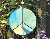 Peace Sign Suncatcher Hanging Glass BoHo Medtiation Art