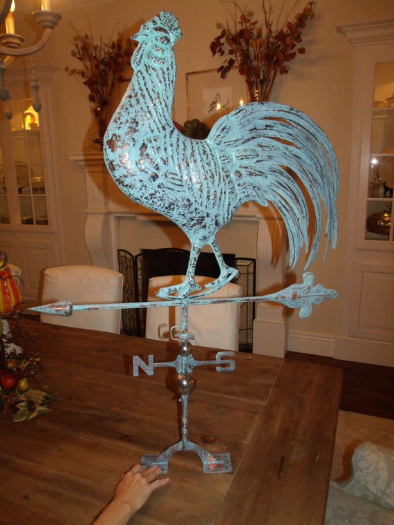XLARGE Handcrafted 3-D Crowing ROOSTER Weathervane Copper Patina Finish