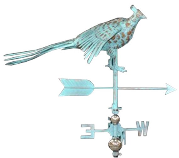 LARGE Handcrafted 3D 3Dimensional Pheasant Weathervane Copper Patina Finish