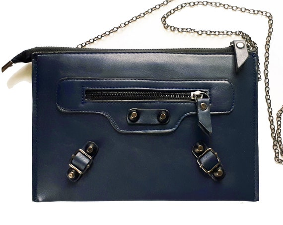 Purse Small  with Removable Chain Strap in Faux Leather | Navy