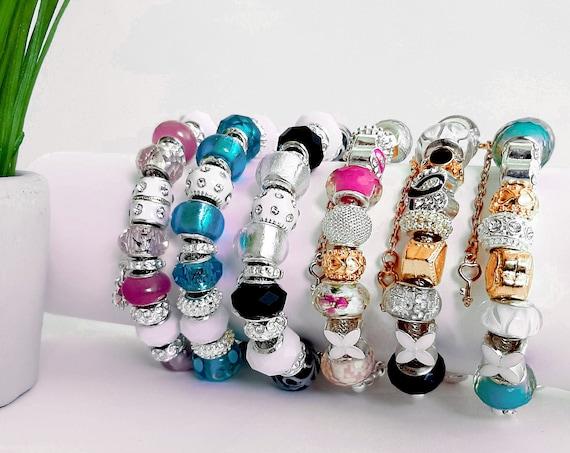 Charm bracelet | Casual bracelet | Swarovski Crystals bracelet for women | Silver | Expandable | Beads |