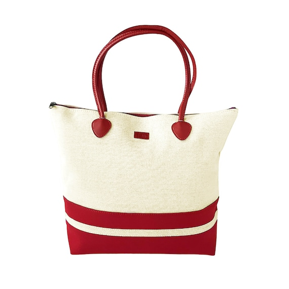 Red Tote Canvas Beach bag for Women