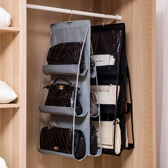 6 Pocket Hanging Handbag Organizer Closet | Bag Door Wall Clear | Purse with Hanging Pouch | Handbag storage | closet organizer | Wardrobe
