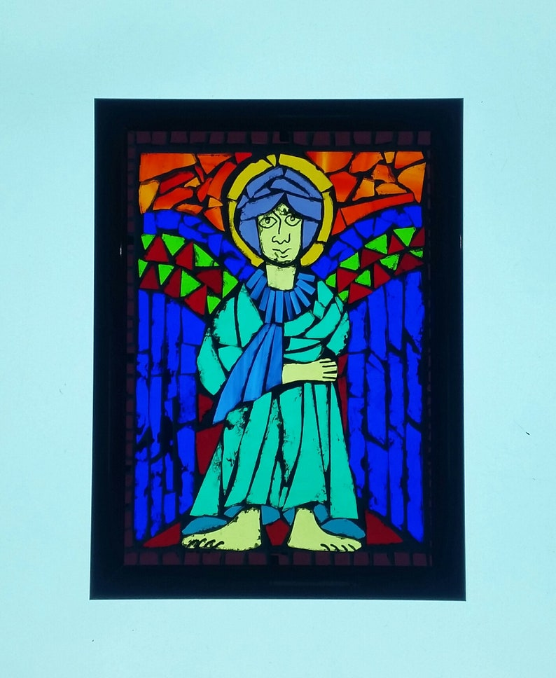 Stained Glass on Glass Mosaic Glass Mosaic Art. Small Framed Glass Mosaic Panel Celtic God Stained Glass