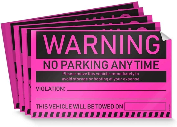 8x5 Towing Parking Violation Stickers for Vehicles Yellow Insanely Sticky