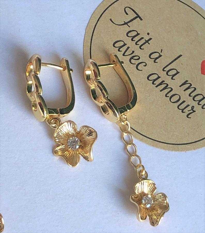 24 k gold flower dangle earrings /&bracelet mothers day gift simple earings for everyday birthday gift for her gold charm choker