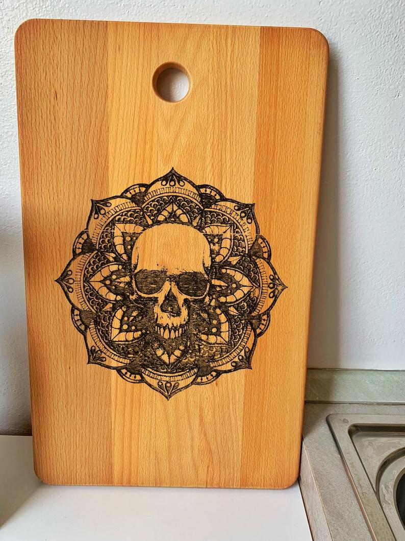Skull Carved Cutting Board  Bone Kitchen board  Horror Mandala Skull  Skull lover gift  big wood cutting board  house gift
