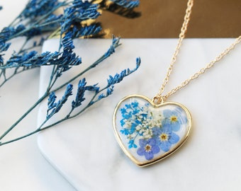 Handmade Pressed Blue Forget Me Not Gold Heart Pendant Resin Necklace
