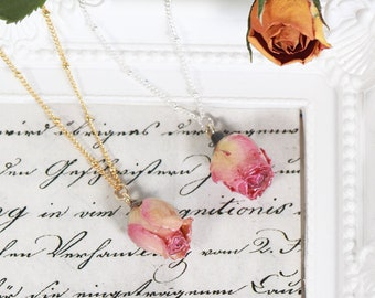 Handmade Dried Pink Rose Bud Real Flower Pendant Necklace