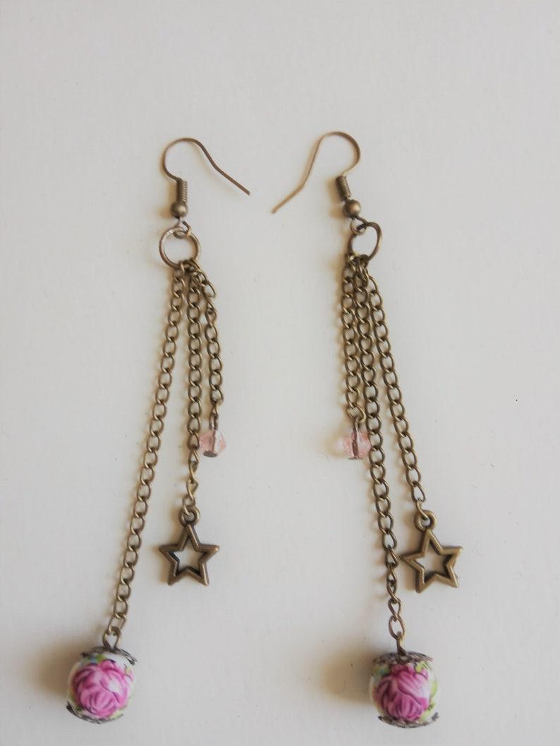 Lovely Vintage Ceramic Pearls Pendant Earrings