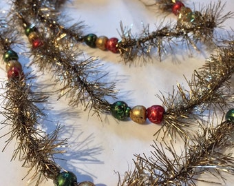 Christmas Holiday Tinsel with glass beads, 6ft long, Antique Silver color, Red, Green & Gold glass beads