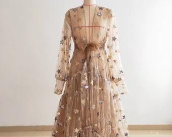 Tan Sparkle Stars Maternity Robe/Long Sleeve Tulle Dress Photo Shoot Dress/Short Train Maternity Dress /Free Sizes/Custom Colors